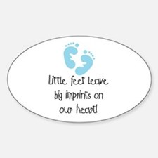 Baby Footprints Blue Oval Decal