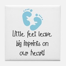 Baby Footprints Blue Tile Coaster