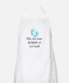 Baby Footprints Blue BBQ Apron
