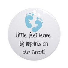Baby Footprints Blue Ornament (Round)
