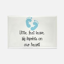 Baby Footprints Blue Rectangle Magnet