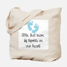 Baby Footprints Blue Tote Bag