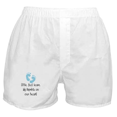 Baby Footprints Blue Boxer Shorts