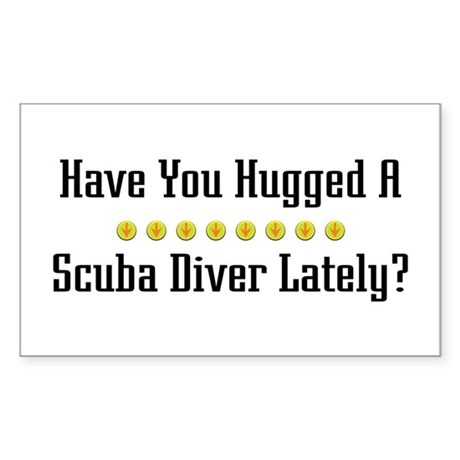 Hugged Scuba Diver Rectangle Sticker