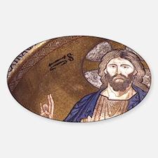 Christ Pantocrator. Byzantine mosai Sticker (Oval)