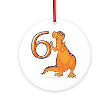 Kids Dino 6th Birthday Gifts Ornament (Round)