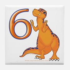 Kids Dino 6th Birthday Gifts Tile Coaster