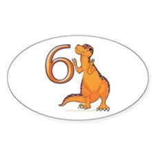 Kids Dino 6th Birthday Gifts Oval Decal