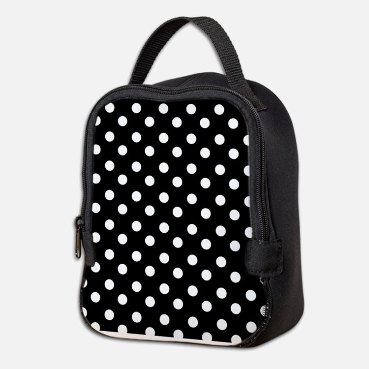 black and white polka dots patt Neoprene Lunch Bag