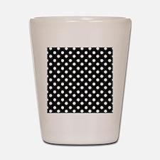 black and white polka dots pattern Shot Glass