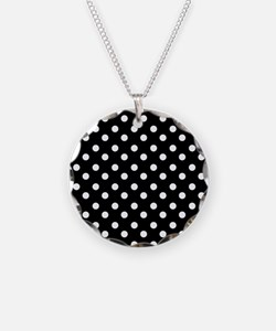 black and white polka dots p Necklace