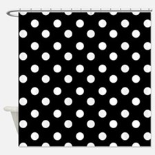 black and white polka dots pattern Shower Curtain