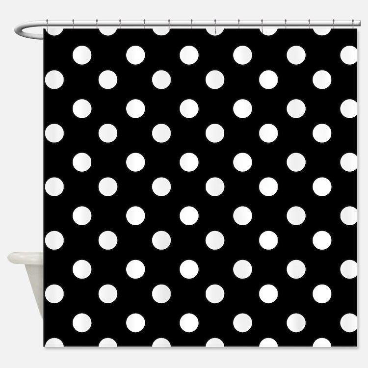 black and white polka dot shower curtains black and white polka dot fabric shower curtain liner. Black Bedroom Furniture Sets. Home Design Ideas
