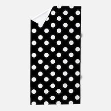 black and white polka dots pattern Beach Towel