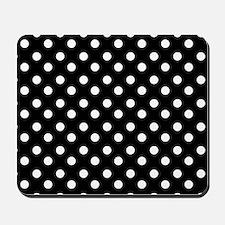 black and white polka dots pattern Mousepad