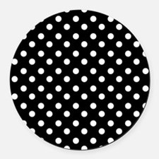 black and white polka dots patter Round Car Magnet