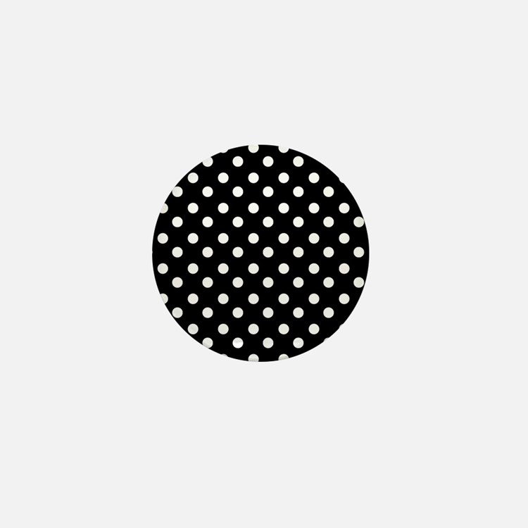 black and white polka dots pattern Mini Button