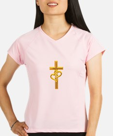 Golden Cross With 2 Hearts Performance Dry T-Shirt