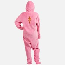 Golden Cross With 2 Hearts Footed Pajamas