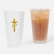Golden Cross With 2 Hearts Drinking Glass