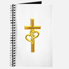 Golden Cross With 2 Hearts Journal