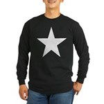 White 5-Pointed Star Long Sleeve Dark T-Shirt