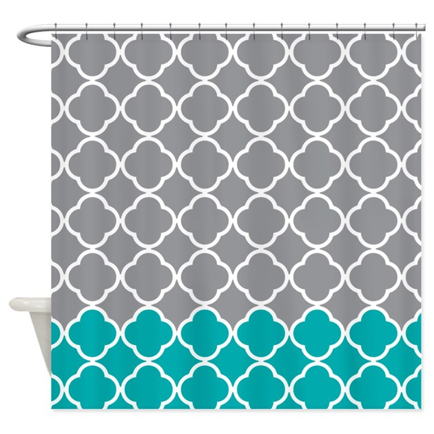Gray And Teal Quatrefoil Pattern Shower Curtain By Showercurtainsworld