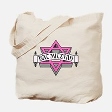 Mitzvah with Pink scroll & Star of David.png Tote
