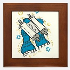 Bat Mitzvah with scroll and shawl.png Framed Tile