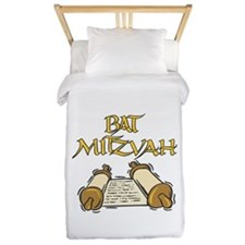 Bat Mitzvah with Scroll.png Twin Duvet