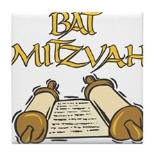 Bat Mitzvah with Scroll.png Tile Coaster