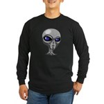 Grey Alien Head Long Sleeve Dark T-Shirt