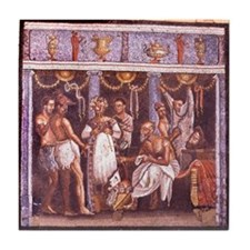 Roman mosaic from Pompeii. Actors and Tile Coaster