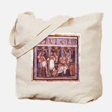 Roman mosaic from Pompeii. Actors and a C Tote Bag
