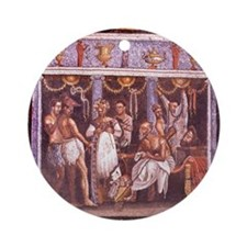 Roman mosaic from Pompeii. Actors a Round Ornament