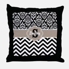 Black Beige Damask Chevron Personalized Throw Pill