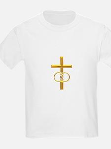 golden cross with wedding T-Shirt
