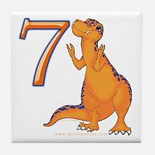 Kids Dino 7th Birthday Gifts Tile Coaster