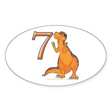 Kids Dino 7th Birthday Gifts Oval Decal