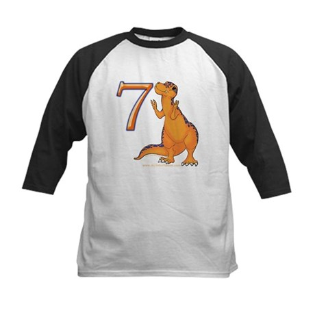 Kids Dino 7th Birthday Gifts Kids Baseball Jersey