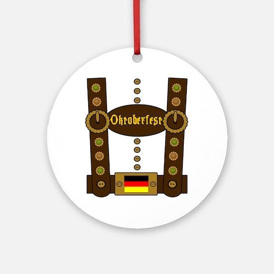 Oktoberfest Lederhosen Funny Ornament (Round)