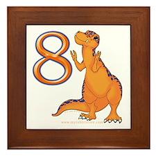 Kids Dino 8th Birthday Gifts Framed Tile