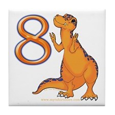 Kids Dino 8th Birthday Gifts Tile Coaster