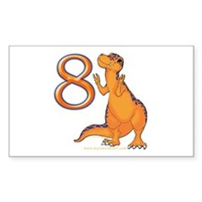 Kids Dino 8th Birthday Gifts Rectangle Decal