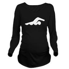 Swimmer Long Sleeve Maternity T-Shirt