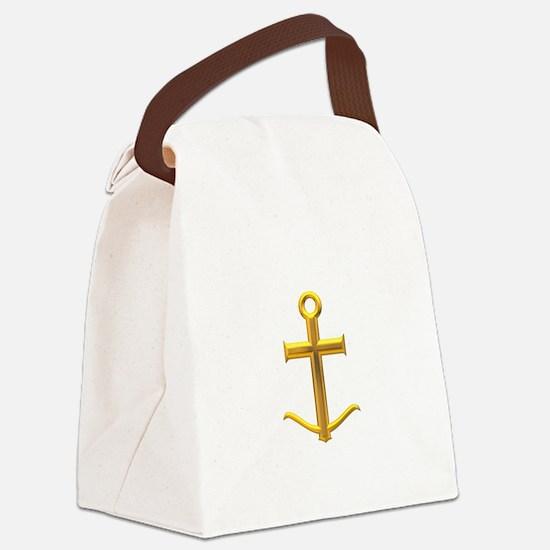 Golden Anchor Cross Canvas Lunch Bag