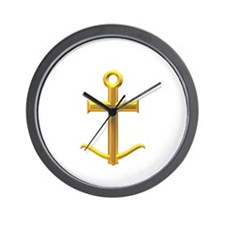 Golden Anchor Cross Wall Clock