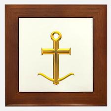 Golden Anchor Cross Framed Tile