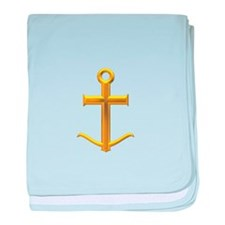 Golden Anchor Cross baby blanket