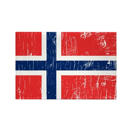 Vintage Norway Rectangle Magnet (100 pack)